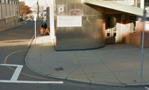 Planned Parenthood's clinic in Boston, MA. The yellow line on the sidewalk and street marks the 35-feet buffer zone.
