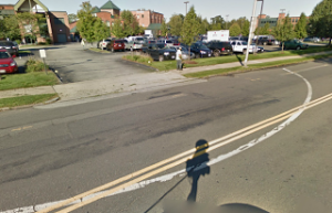 Planned Parenthood's Springfield, MA clinic has white arcs painted on the street to represent the buffer zone.